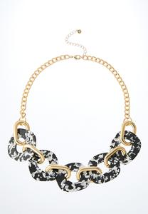Chunky Lucite And Metal Link Necklace