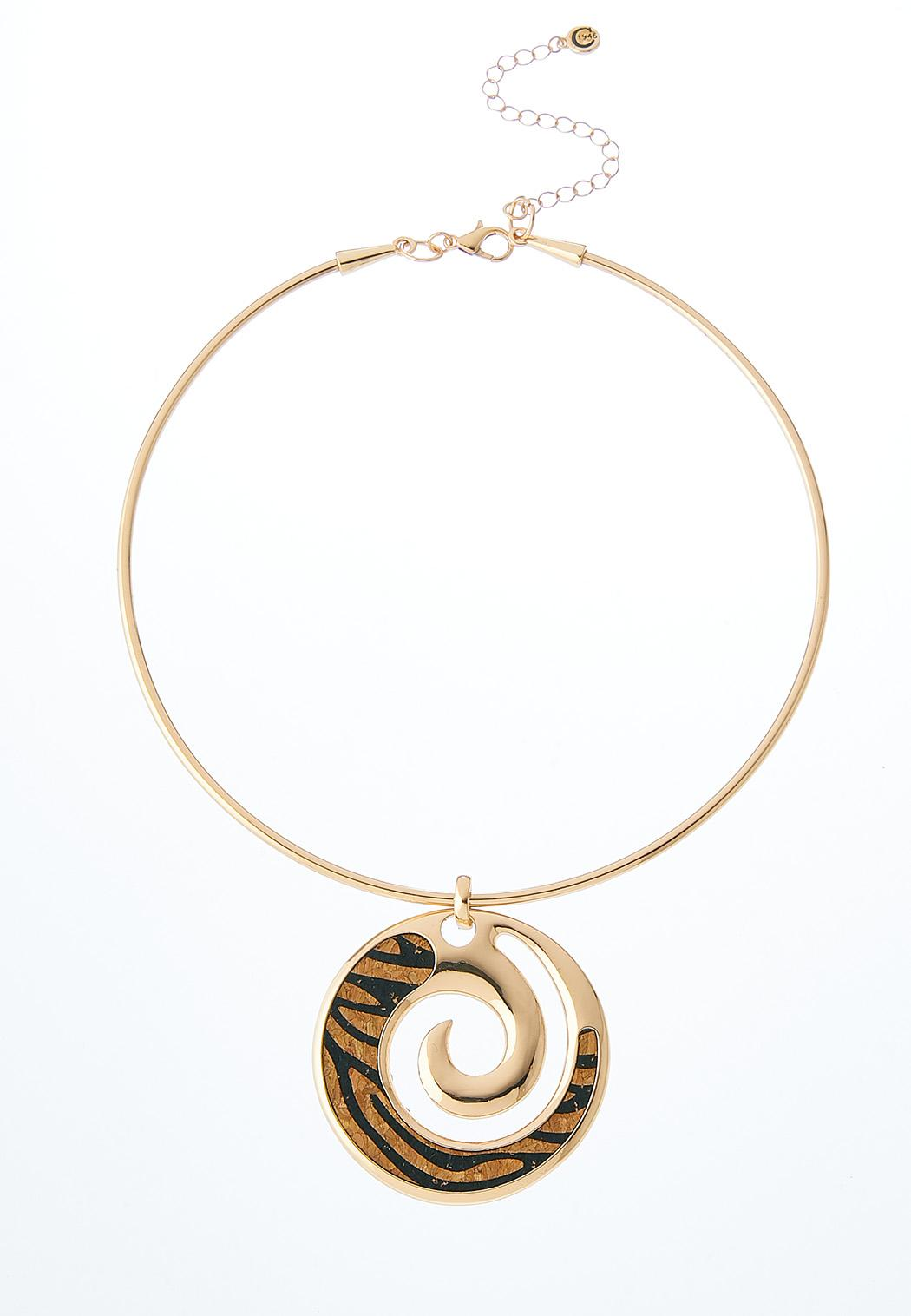 Swirly Leopard Wire Necklace