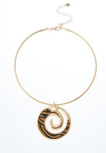 Swirly Leopard Wire Necklace