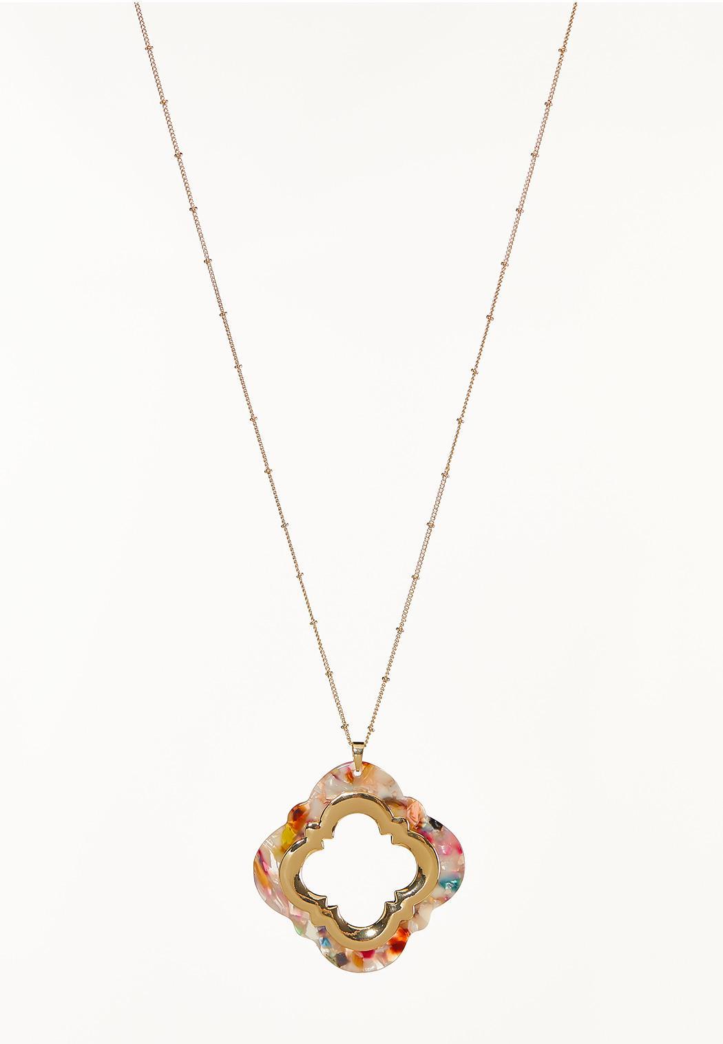 Multi Lucite Moroccan Pendant Necklace