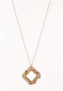 Multi Lucite Moroccan Pendant Necklace