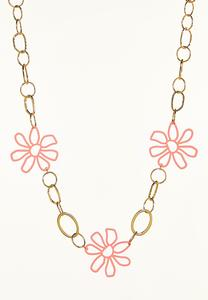 Rubber Enamel Flower Necklace