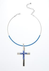 Cross Wire Pendant Necklace