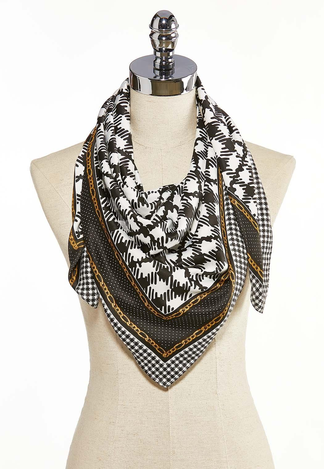 Houndstooth Silky Scarf
