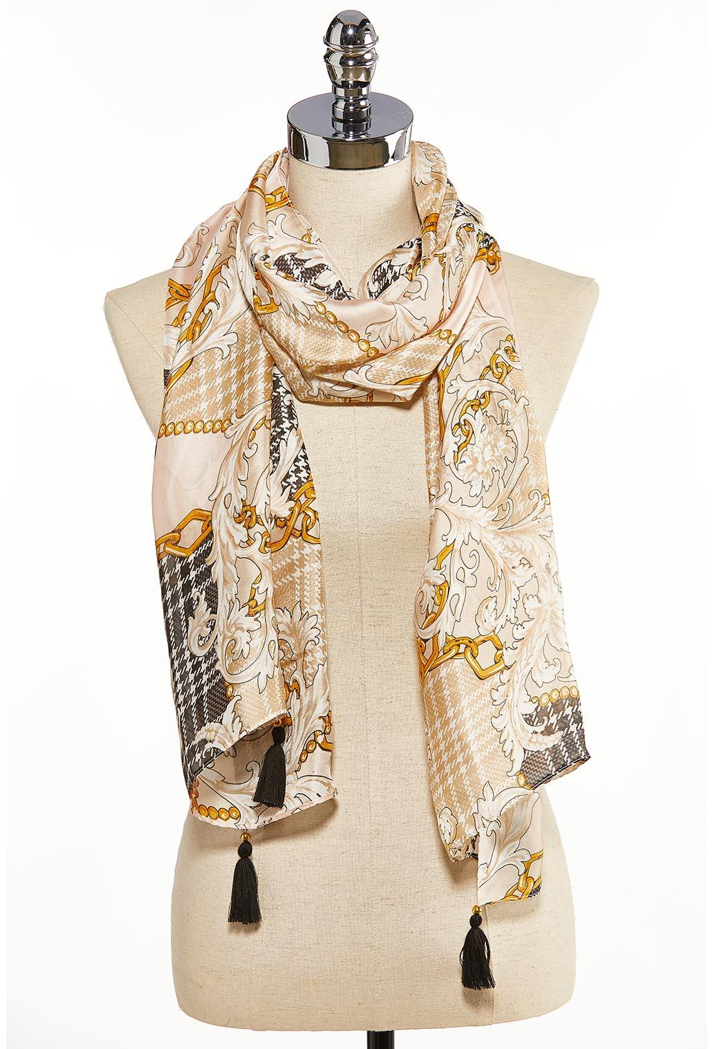 Chain Houndstooth Silky Scarf