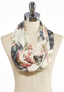 Floral Shadow Stripe Infinity Scarf