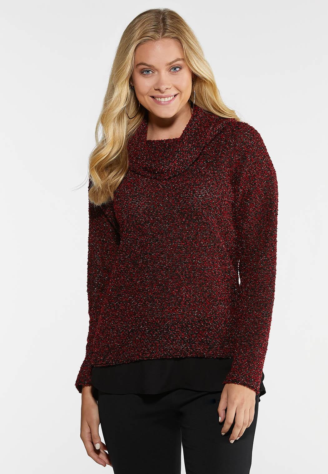 Plus Size Layered Cowl Neck Sweater