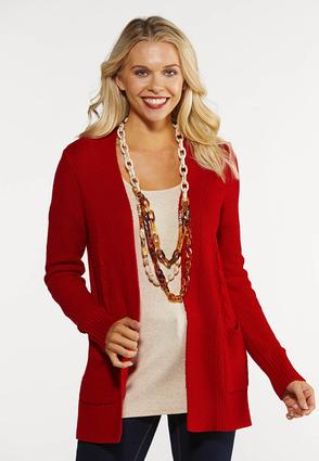 Plus Size Bright Red Cardigan Sweater
