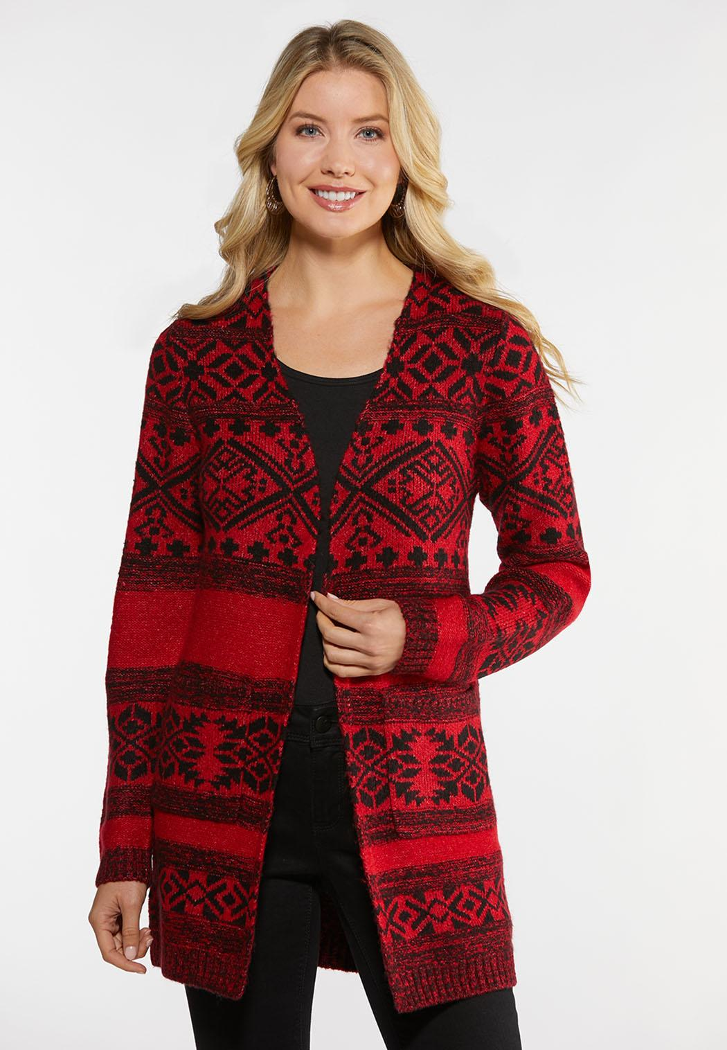 Plus Size Red Aztec Duster Cardigan