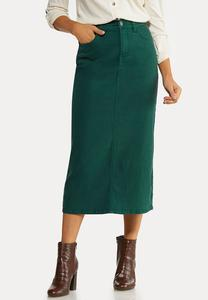 Plus Size Green Denim Skirt