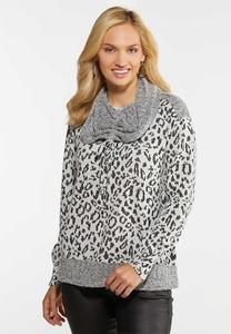 Leopard Cowl Neck Top