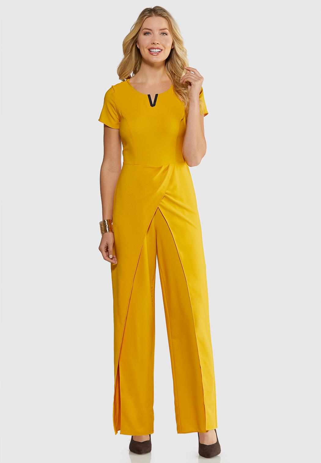 Plus Size Embellished Gold Jumpsuit Jumpsuits Cato Fashions