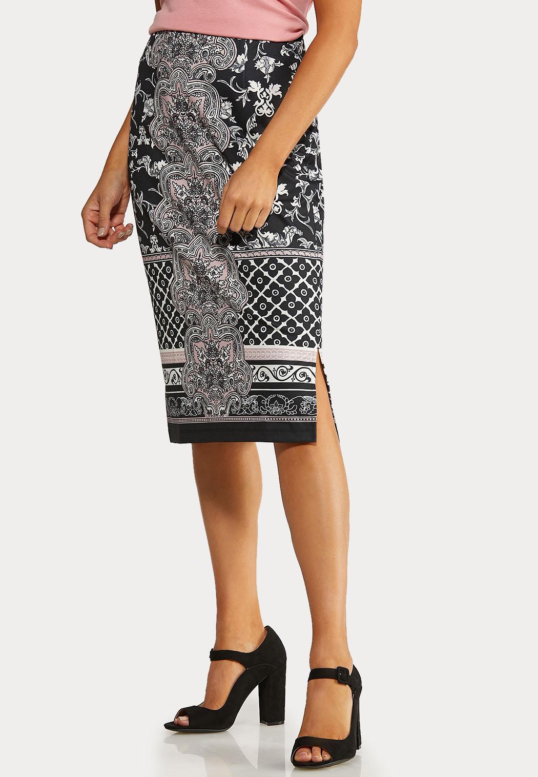 Plus Size Damask Mix Pencil Skirt