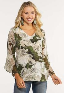 Bell Sleeve Paisley Top