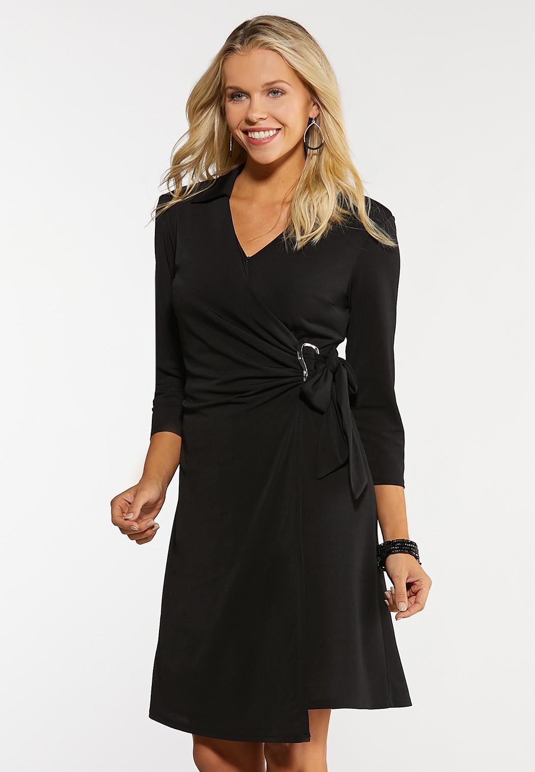 Plus Size Buckle Wrap Dress
