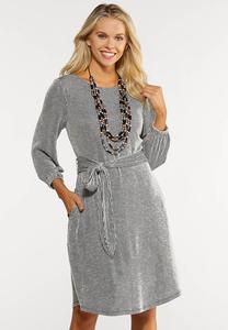 Belted Ribbed Knit Dress