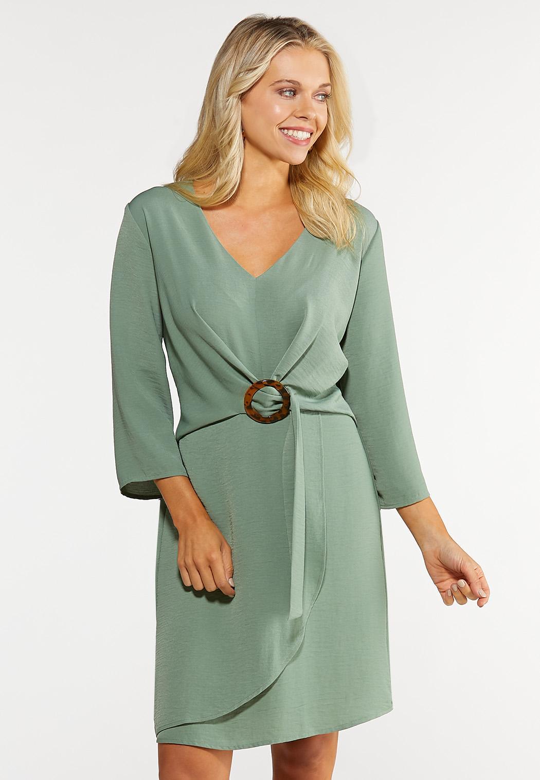 Plus Size Buckle Faux Wrap Dress Plus Sizes Cato Fashions