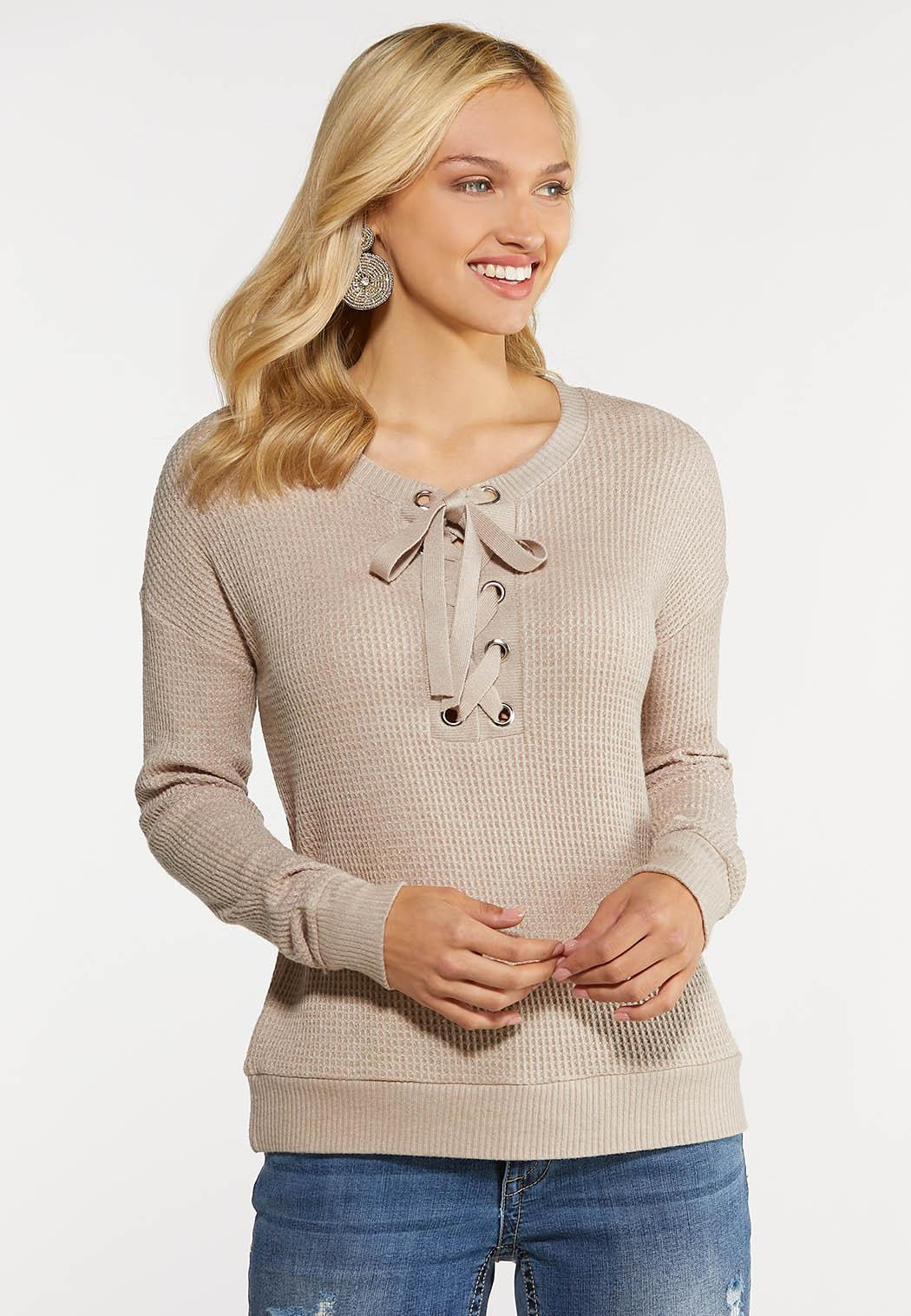 Plus Size Lace Up Thermal Top