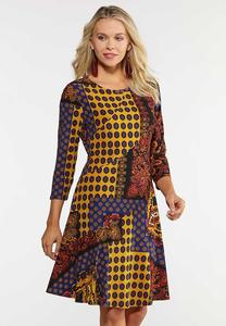 Plus Size Paisley Patchwork Swing Dress
