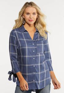 Plus Size Plaid Tie Sleeve Shirt