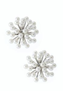 Pearl Starburst Button Earrings