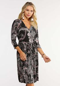 Plus Size Paisley Wrap Dress