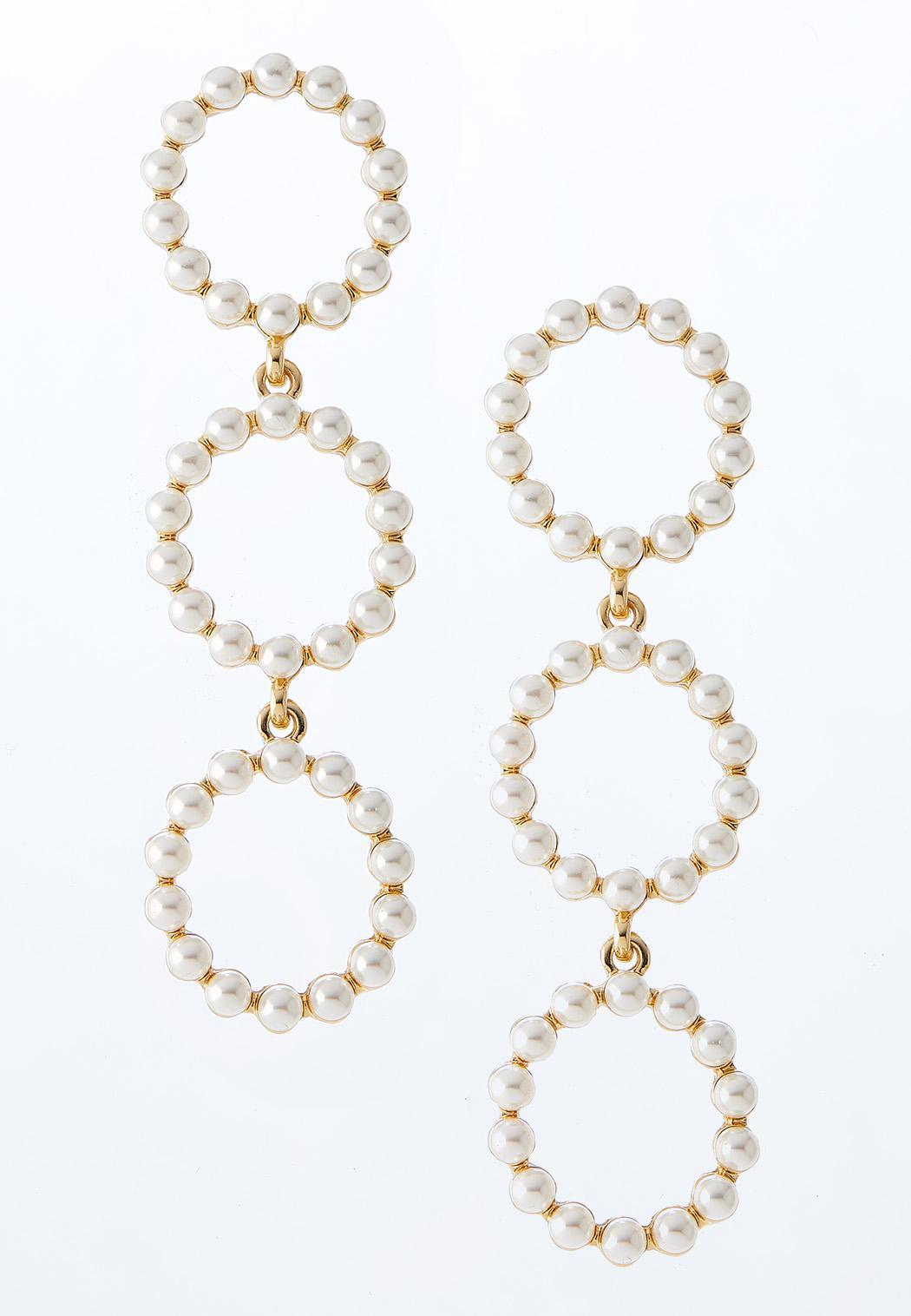 Triple Pearl Circle Earrings