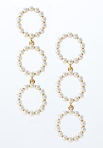 Triple Pearl Circle Earrings