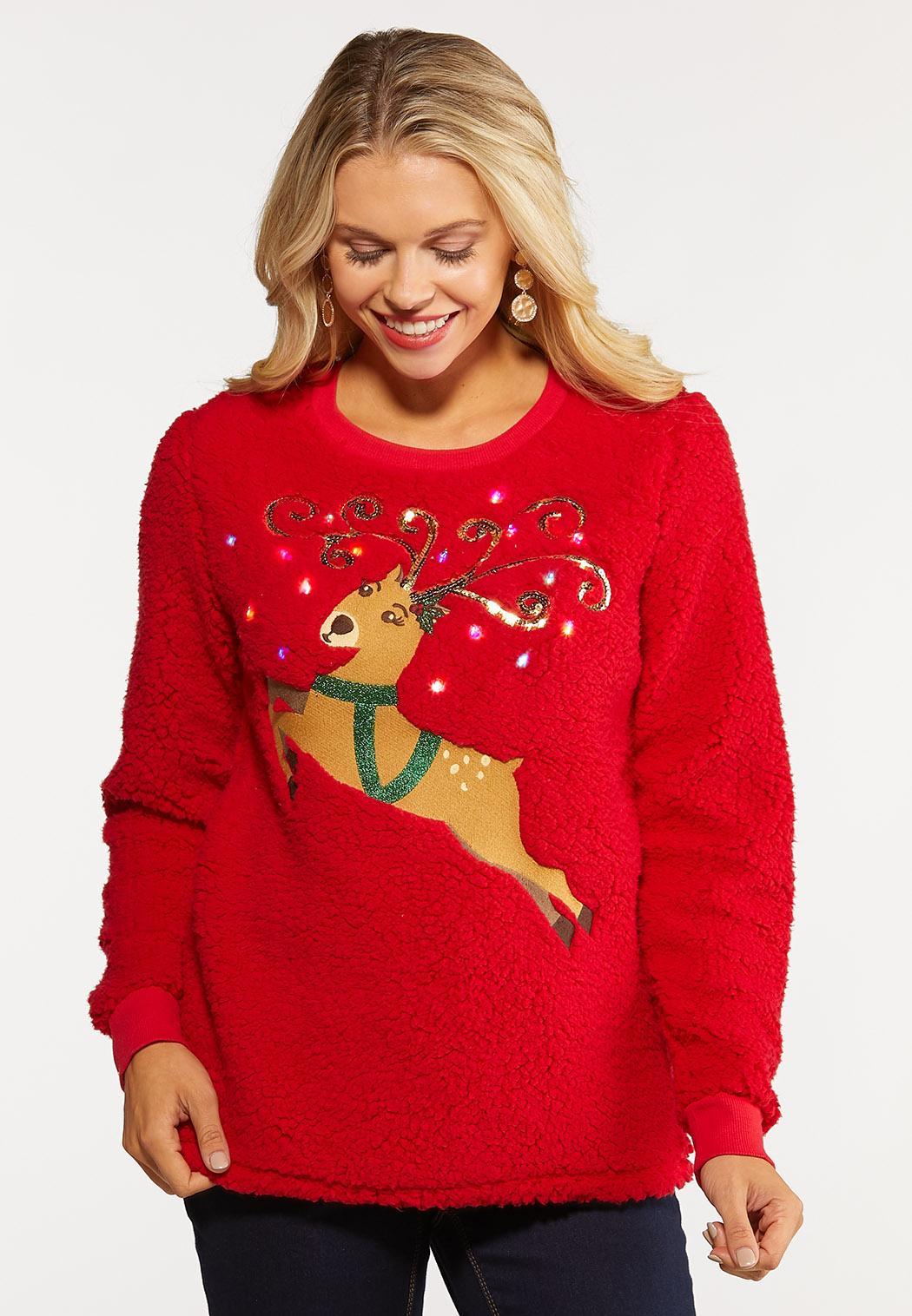 Plus Size Light Up Reindeer Sweatshirt