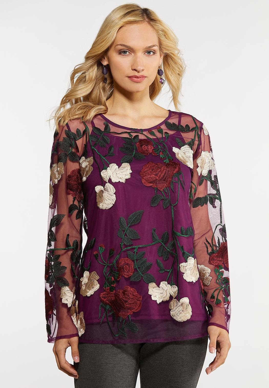 Mesh Embroidered Top