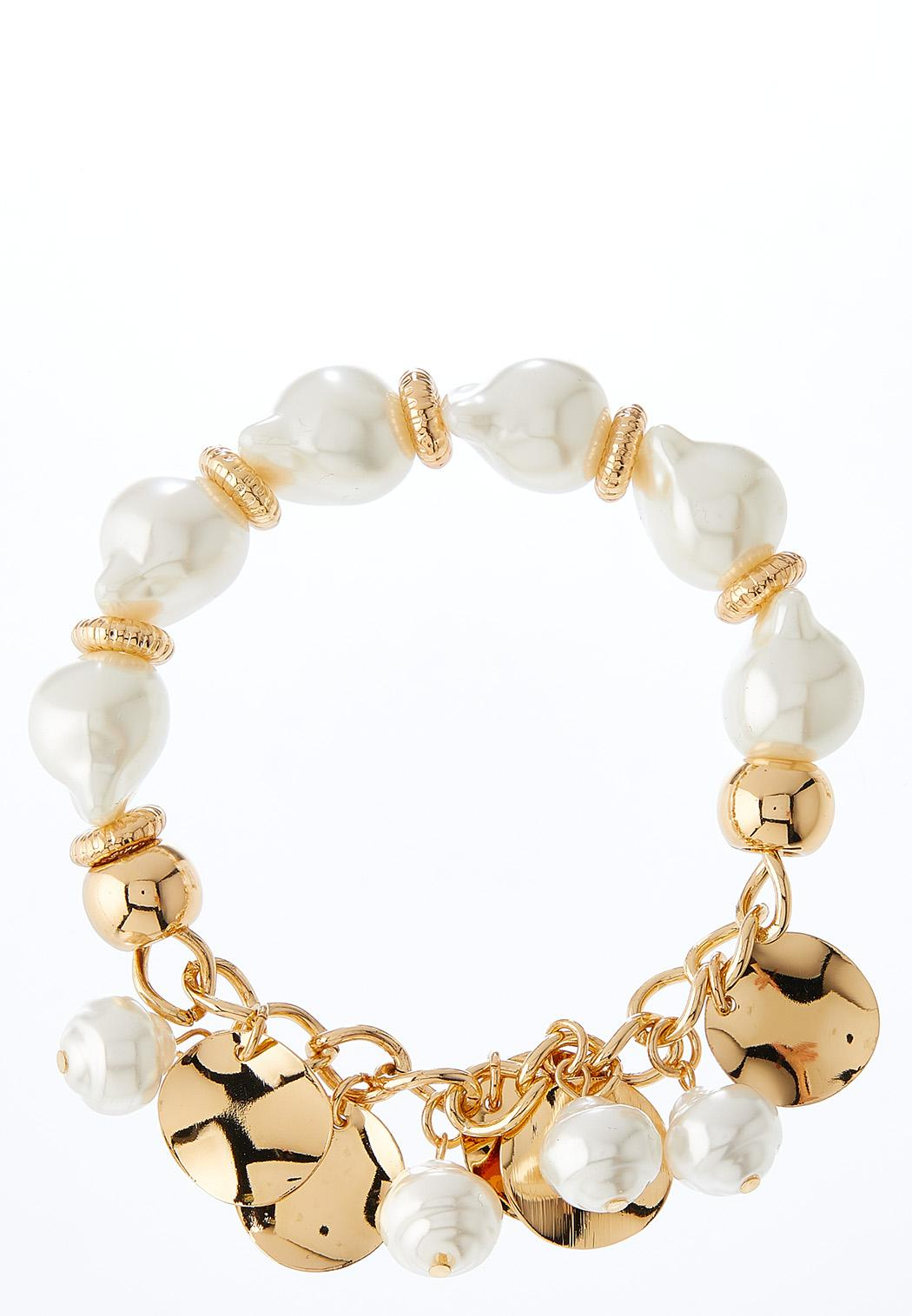 Hammered Disc Pearl Stretch Bracelet