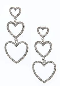 Triple Pave Heart Earrings