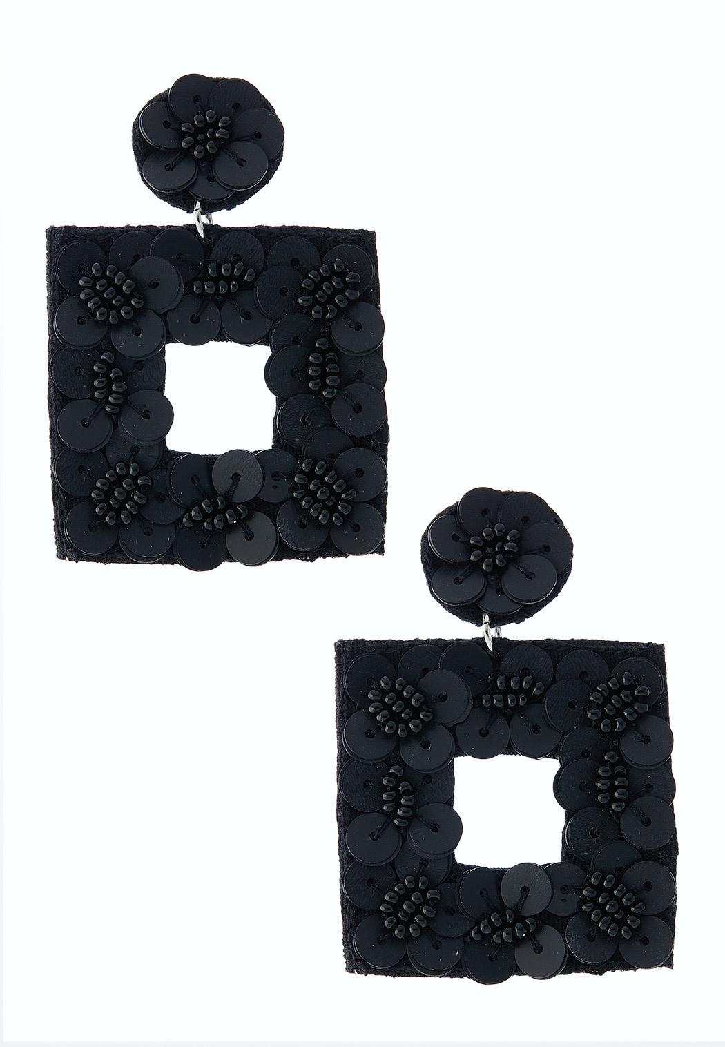 Geo Floral Fabric Back Earrings