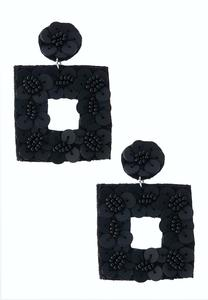 Geo Floral Fabric Back Earrings