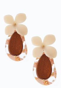 Lucite Flower Wood Earrings