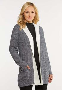 Plus Size Hooded Teddy Cardigan