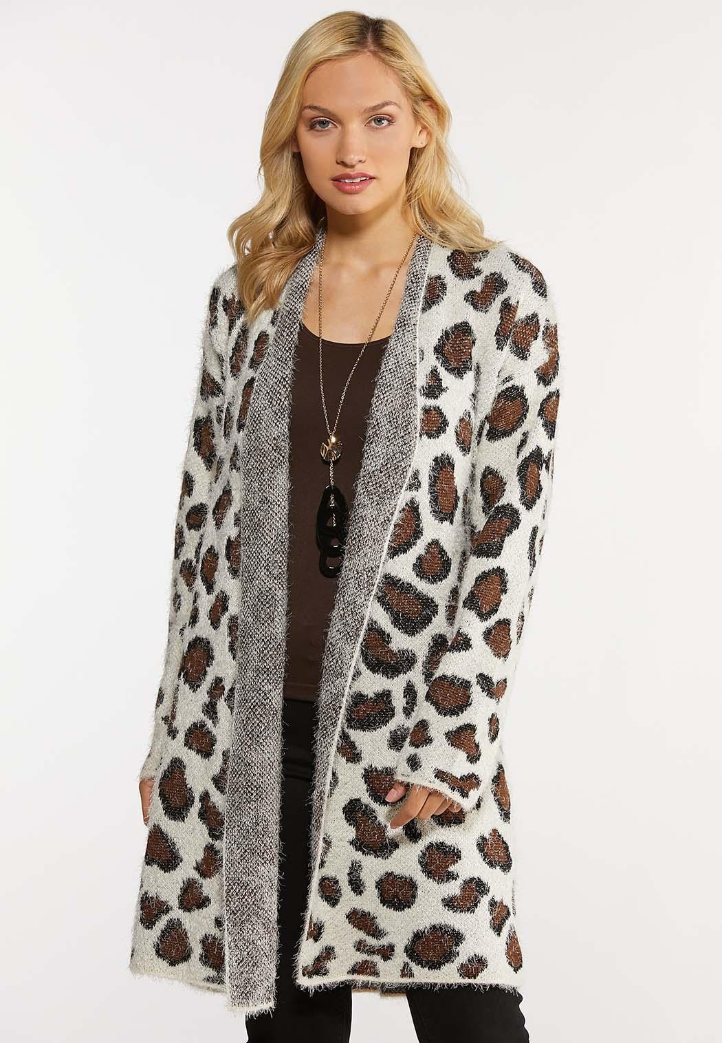 Plus Size Leopard Eyelash Cardigan