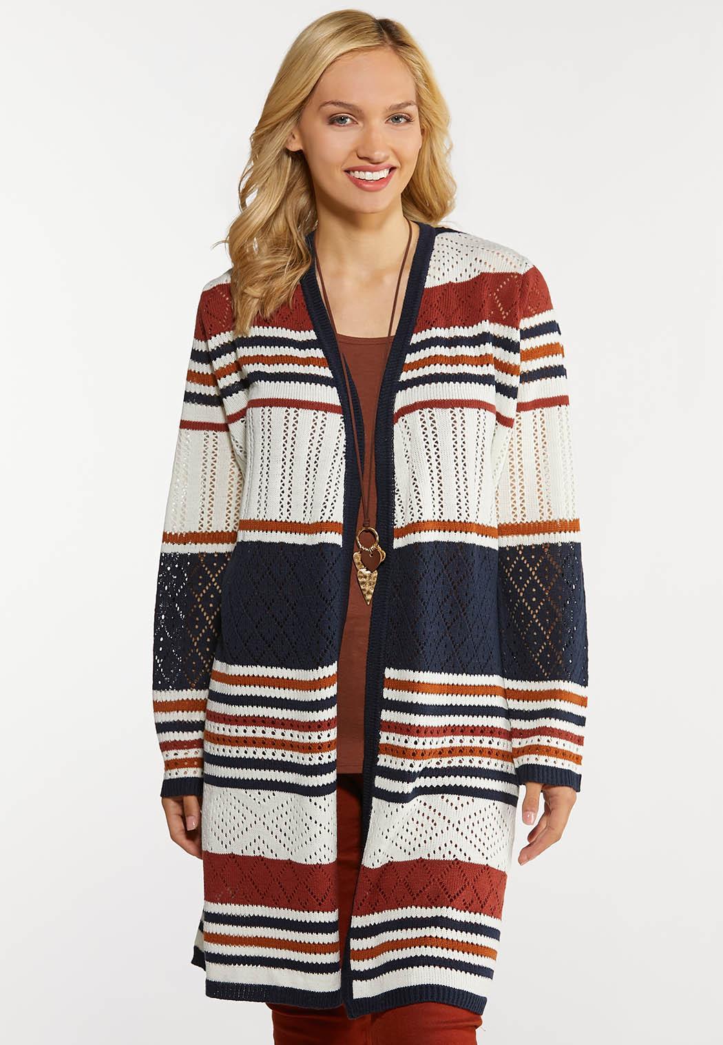 Plus Size Crochet Stripe Cardigan