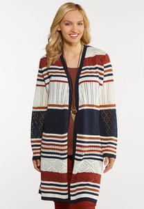 Plus Size Crochet Stripe Cardigan