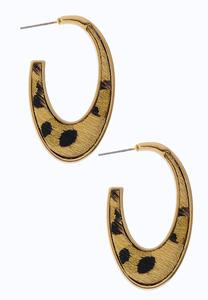 Textured Leopard Hoop Earrings