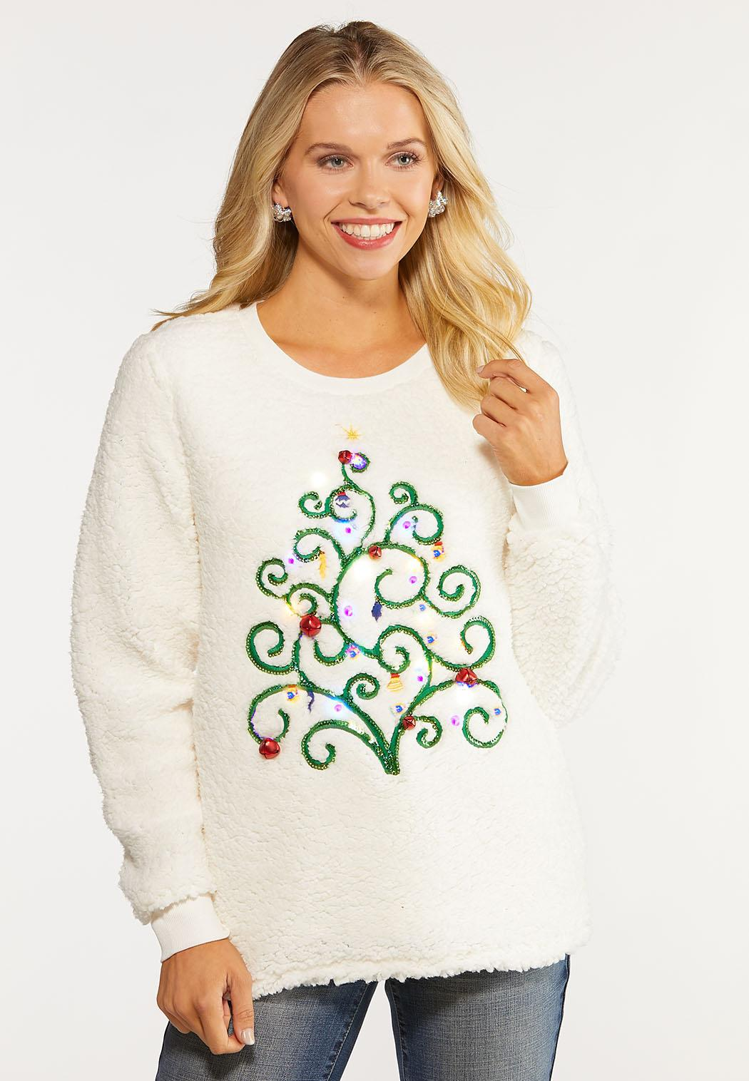 Plus Size Light Up Tree Sweatshirt