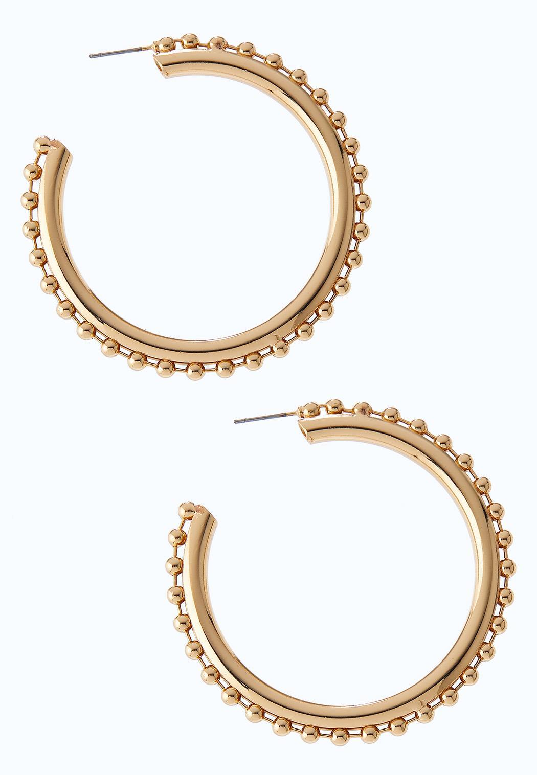 Ball Chain Gold Hoop Earrings