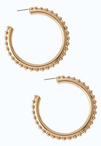 Ball Chain Gold Hoop Earrings