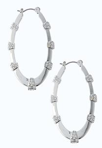 Rhinestone Oval Hoop Earrings