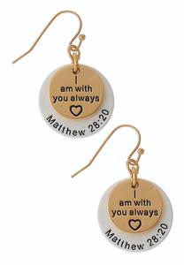 Two-Toned Inspirational Earrings
