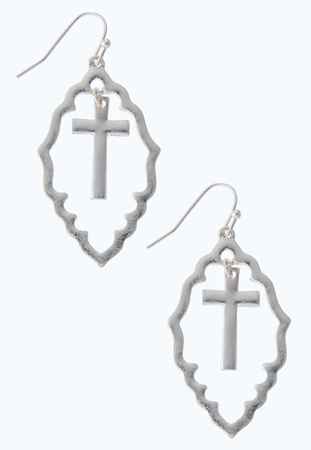 Moroccan Silver Cross Earrings