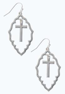 Moroccan Silver Cross Earrings