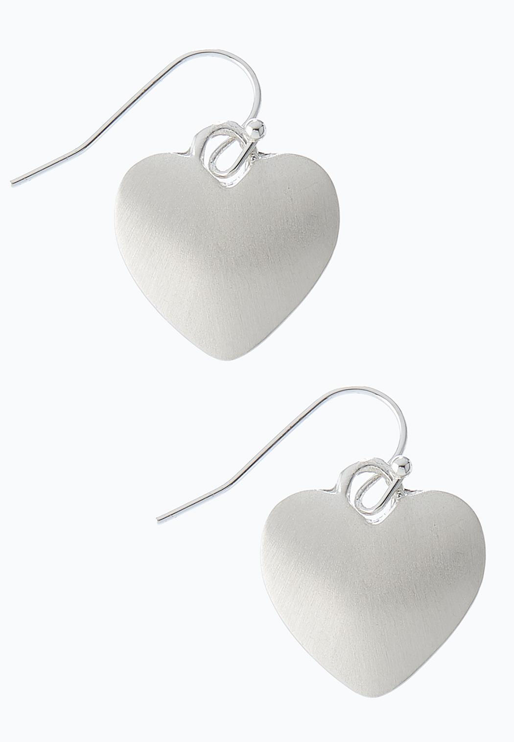 Brushed Silver Heart Earrings