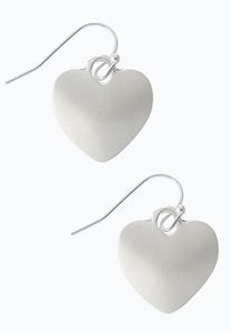 Brushed Silver Heart Earrings