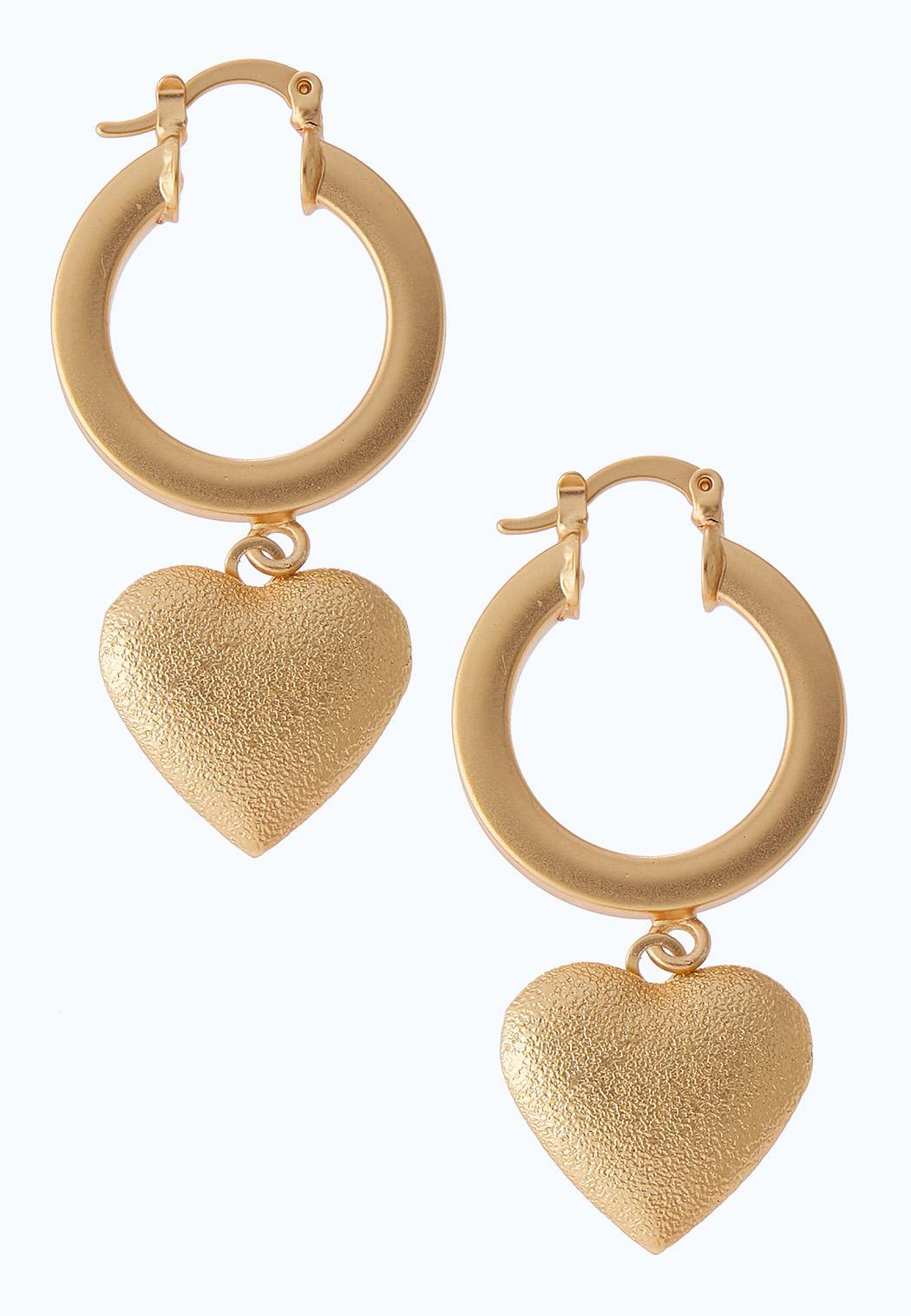 Chunky Heart Charm Earrings